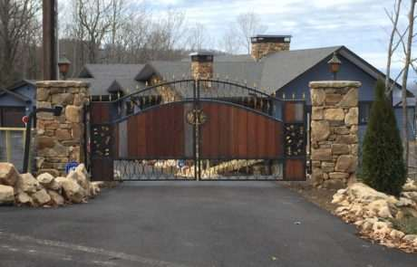 Stone, aluminum and wood gate, Fence Scapes, Asheville, NC