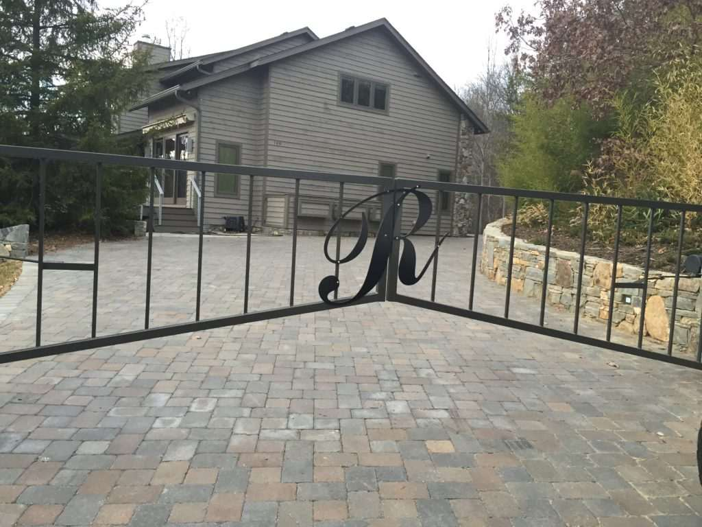 Stone and aluminum gate operator, Fence Scapes, Asheville, NC