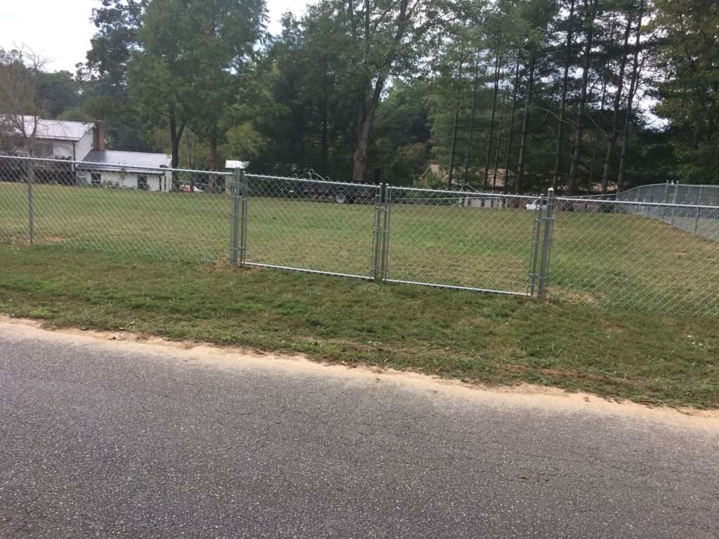 residential chain link fence with gate