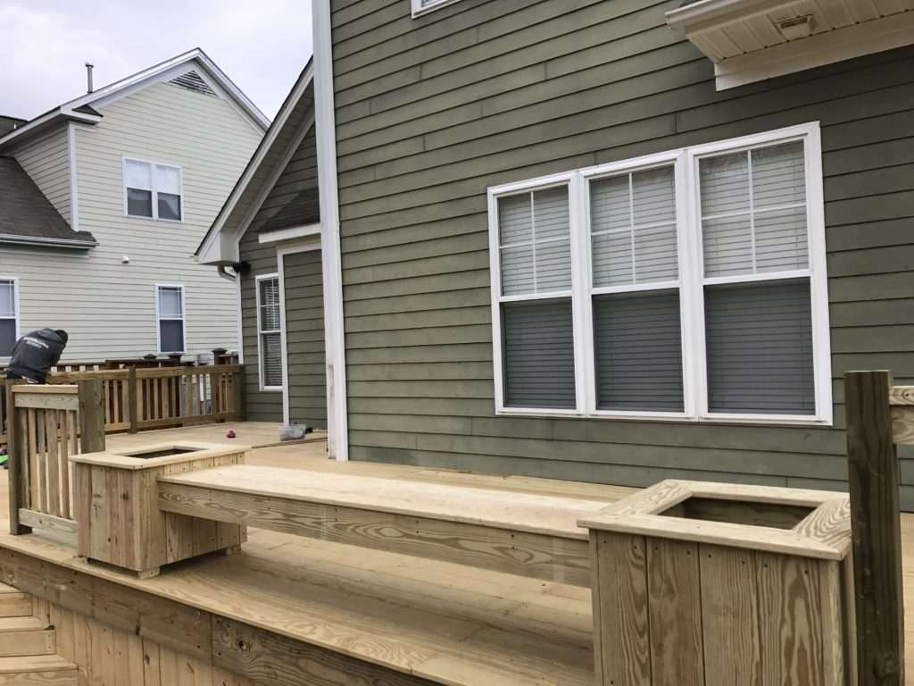 Wooden planters with bench, Fence Scapes, Asheville, NC
